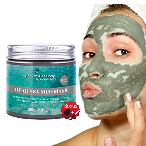 HeaBea Body Clear face Skin Mask Efficiently Acne blackhead remover,Reduces Pores & Wrinkles Dead Sea Mud Masks Natural Minerals Treatment For All kinds Skin Type Beauty Care/with Essential tool (Best Lush Face Mask For Acne)