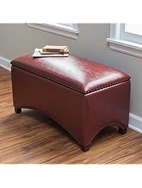Premium Nailhead Storage Bench   Modern Leather Window Seating Organizer  Home Furniture Living Room Bedroom Entryway