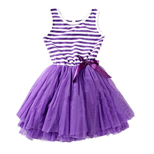 Purple Tutu Dress (Weixinbuy Kids Girl Cotton Blend Puffy Bow Sundress Stripe Skirt Purple 4-5Y)
