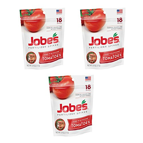 Jobe's Tomato Fertilizer Spikes, 6-18-6 Time Release Fertilizer for All Tomato Plants, 18 Spikes per Resealable Waterproof Pouch - (3 Pouch)