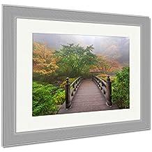 Ashley Framed Prints Moon Bridge In Foggy Fall Morning, Wall Art Home Decoration, Color, 30x35 (frame size), Silver Frame, AG6103495