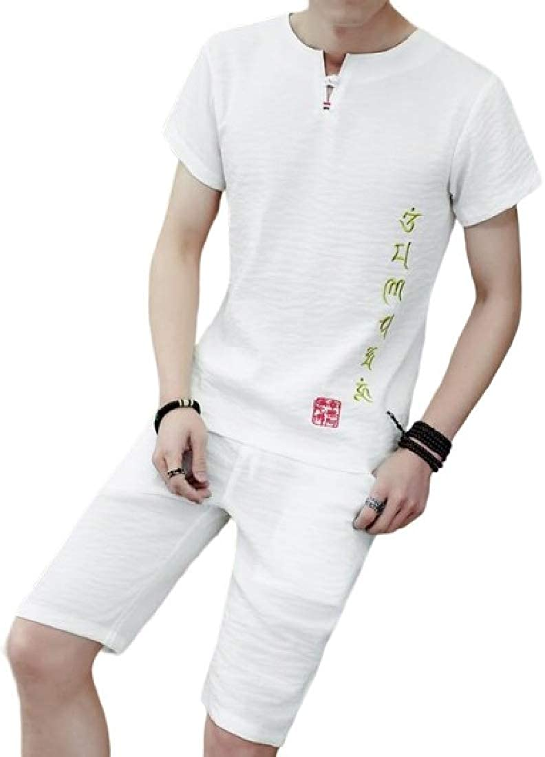 YYG Mens V Neck T-Shirts Linen Shorts 2 Pieces Tracksuit Outfit Set