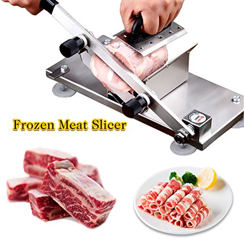 Stainless Steel Manual Meat Slicer for Home Kitchen Commercial Frozen Beef Mutton Roll Cutting Machine for Hot Pot Lover