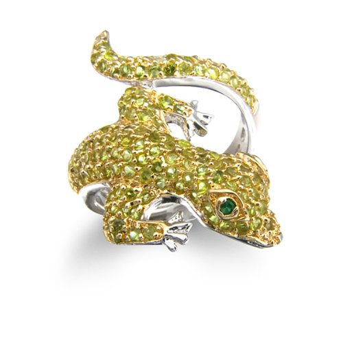 Gold Plated Silver Gecko Ring with Simulated Emerald and Simulated Peridot