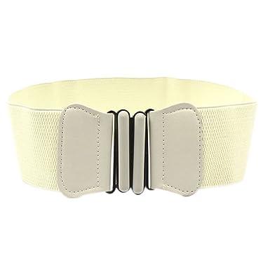 FEITONG Mode et élégant Lady bowknot stretch élastique large ceinture  élastique robe Parure (Blanc )  Amazon.fr  Vêtements et accessoires f86e295e9c1
