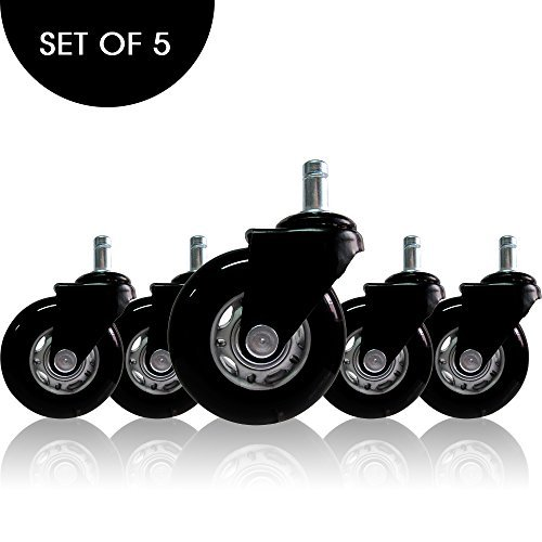 AXL 2.8 inch Rollerblade Office Chair Caster Wheels Replacement, Heavy Duty Casters for Hardwood Floors and Carpet, Set of 5