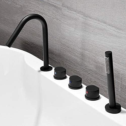 浴槽の蛇口 浴室バスタブ蛇口ハンドシャワー真鍮洗面蛇口流域ミキサータップ 浴槽タップ (色 : Black, Size : Free size)