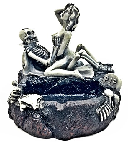 Bellaa 20614 Skeleton Ashtray Funny Lover Statues Candy Bowl 5