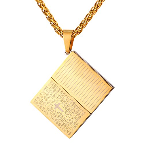 U7 Holy Bible Book Shaped Pendant Men Religious Jewelry 18K Gold Plated Cross Lord's Prayer Necklace