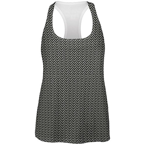 Old Glory Halloween Chainmail Costume All Over Womens Work Out Tank Top Multi (Mail Woman Costumes)
