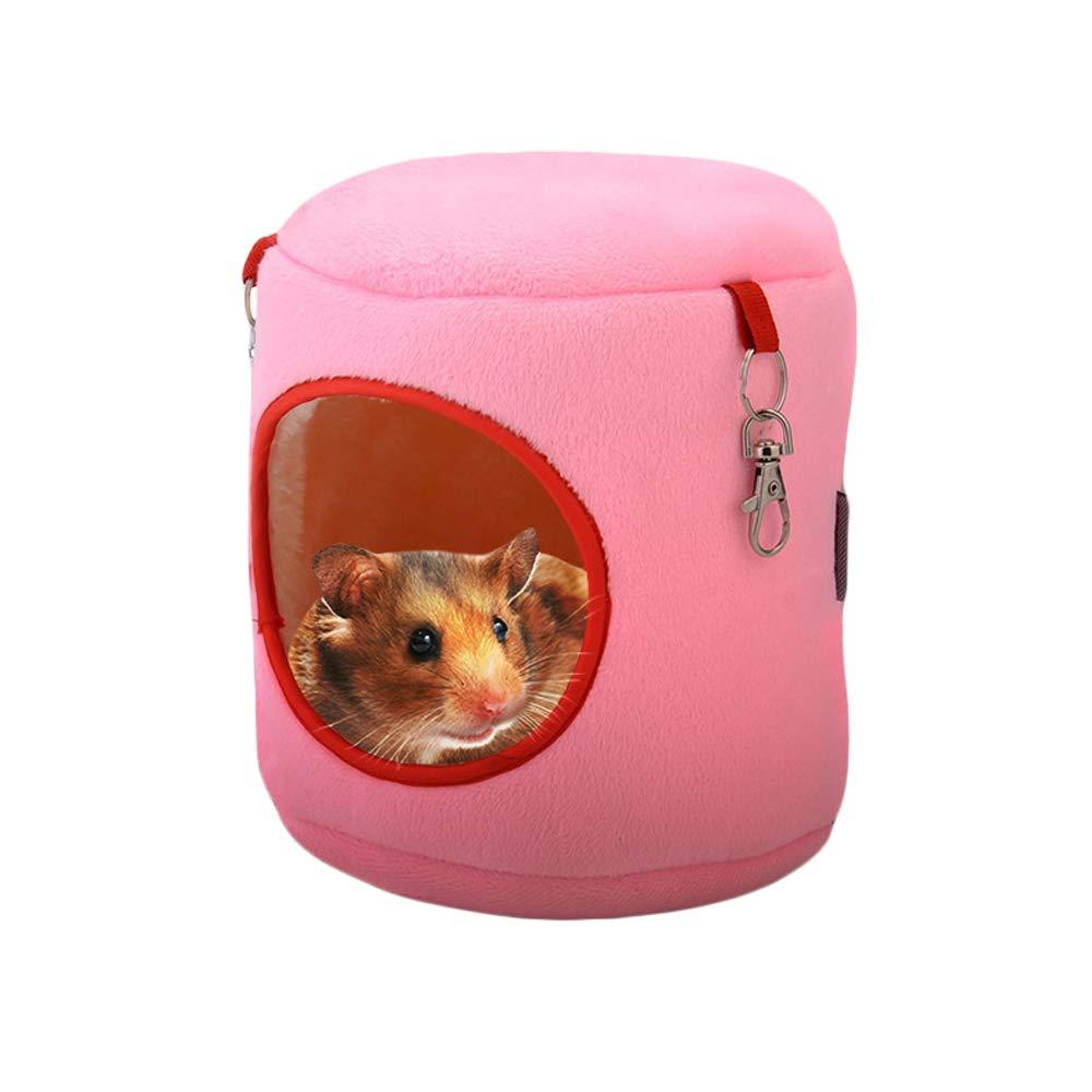 JUNGEN 2Pcs Cama para Pequeña Mascotas Muñón Nido de Hámster con Gancho Suave y Acogedor Casa para Hámster/Erizo / Ardilla/Ratones y Otros Animales (Rosa)