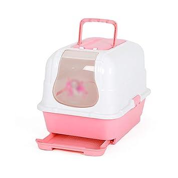 MEI XU Inodoro para mascotas Toalla para gatos Prevención de salpicaduras Desodorante Completamente cerrado Tocador doble para gatos Tocador Desodorante ...