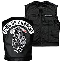 Kids Sons Of Anarchy Officially Licensed Black Redwood Original Samcro Biker Vest Jax with Reaper Patch - Kids Size: XL
