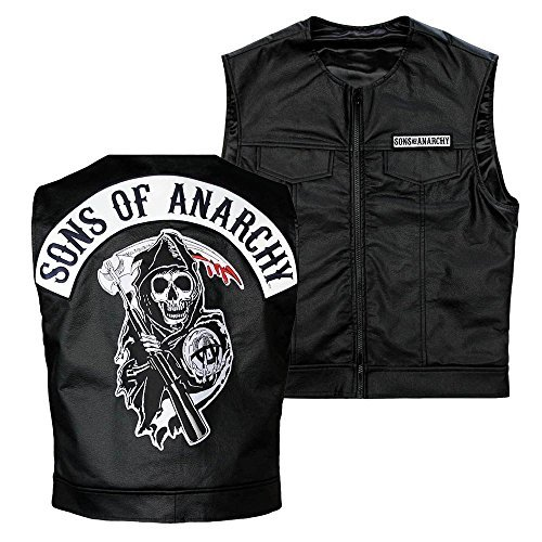 [Kids Sons Of Anarchy Officially Licensed Black Redwood Original Samcro Biker Vest Jax with Reaper Patch - Kids Size:] (Biker Kid Costume)