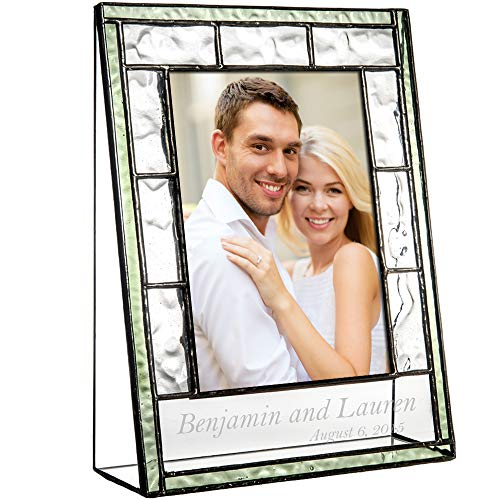 (J Devlin Pic 389-46V EP545 Engraved Glass Picture Frame Personalized Wedding Engagement 4 x 6 Vertical Photo)