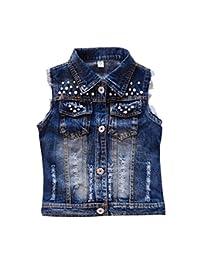 MYtodo Girl Sweet broken hole denim jacket cowboy pearl adorn vest denim jacket
