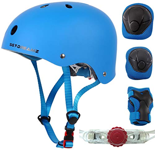 Kids Helmet with Protective Gear for Skateboard Scooter Skating Bicycle Bike Cycling - Adjustable to Fit Heads from Age 3 to 7 - Include Knee Elbow Pads Wrist Guards (SK11SM+P+MtBlue)