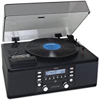 Teac All-In-One Hi-Fi Stereo Turntable CD Player/Recorder/Cassette/Digital AM/FM Radio Tuner Mega Bass Reflex Stereo Sound System