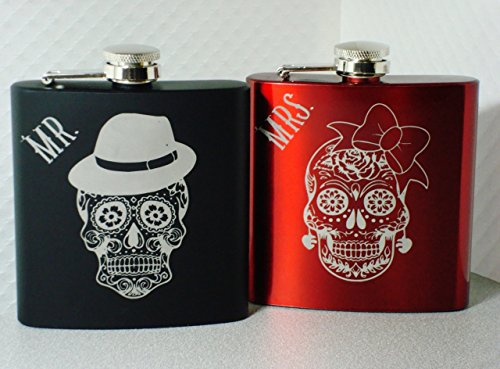 - Sugar Skull Flasks Dia de Los Muertos Mr and Mrs Wedding Couple Gift
