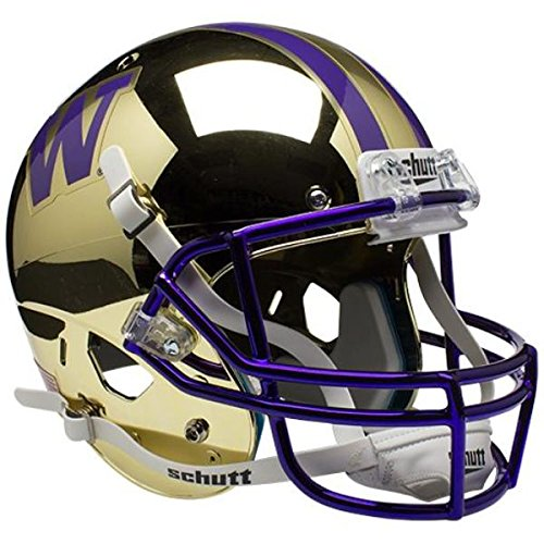 NCAA Washington Huskies Gold Chrome Replica Helmet, One Size, White by Schutt