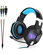Kotion Each G1000 Gaming Headset with Noise Cancelling Mic,Professional 3.5mm PC Stereo Gaming Headset, Bass Headphones with Colorful Breathing LED Light for Laptop Computer-Black and Green