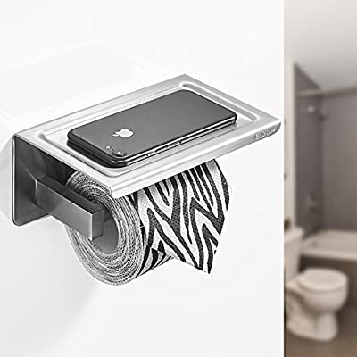 BESy Adhesive Toilet Paper Holder with Shelf, Bathroom Tissue Roll Hanger with Mobile Phone Storage Shelf, SUS 304 Stainless Steel, Self Adhesive with 3M Tape or Wall Mount with Screws, Brushed Finish