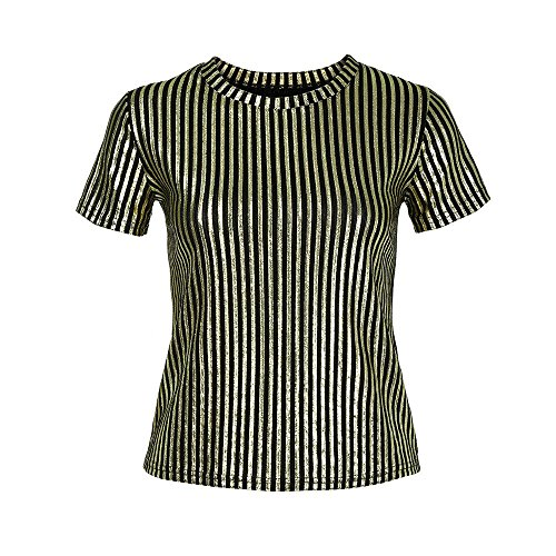 Manches T Lady Rond Automne Col Or Loisirs Rayures Chemises Haut Chemisier Courtes et Chic Shirt Lache Tops Blouse mtal Femme Casual col V Dcontract en Vest 8n5HHq
