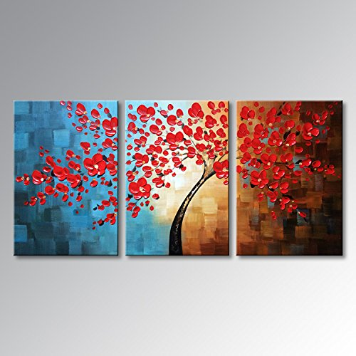 Winpeak Art Huge Hand-painted Abstract Oil Painting Modern Plum Blossom Artwork Floral Canvas Wall Art Hangings Stretched And Framed (72''W x 36''H (24''x36'' x3pcs), Red) by Winpeak Art