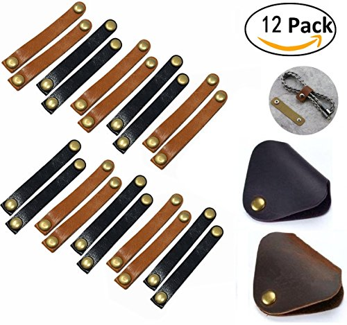 Leather Cable Organizer, Magnolian 12 Pack Snap Button Cord Keeper Desktop Cable Wire Management Headphone Earphone Wrap Winder with Genuine Leather Handmade