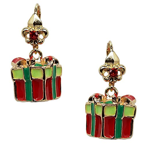 Ritzy Couture Christmas Gift Box Dangle Leverback Earrings