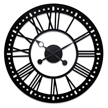 River City Clocks Indoor Black Skeleton  Tower Wall Clock with No Background, 38-Inch Diameter