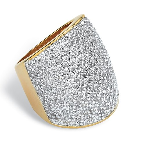 White Cubic Zirconia 14k Gold-Plated Pave-Set Dome Ring Size 7 (Dome Pave Ring Set)