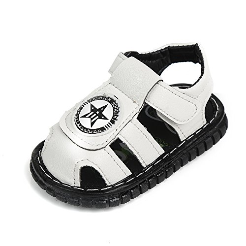Robasiom Baby Squeaky Shoes Squeaky Sandals Anti-Slip First Walkers for Toddler Boys Girls,Black S -