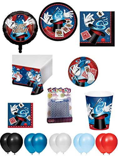 Magician Birthday Party Supplies (Magic Theme Birthday Party Supplies 9-Piece Bundle, Including Disposable Plates, Napkins, Cups, Balloons,Table Cloth and)