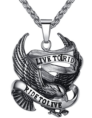 Ride Eagle (Men's Stainless Steel Live to Ride Eagle Biker Pendant Necklace, 24