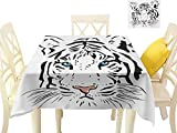 "magnificent rustic outdoor kitchen ideas  Printed Tablecloth Tattoo,The Head of Magnificent Rare White Albino Tiger with Ocean Blue Eyes Image,White Black and Blue Dining Kitchen Table Cover W 60"" x L 60"""