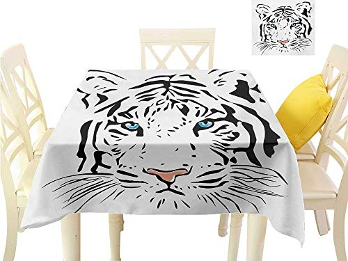 "Printed Tablecloth Tattoo,The Head of Magnificent Rare White Albino Tiger with Ocean Blue Eyes Image,White Black and Blue Dining Kitchen Table Cover W 60"" x L 60"""