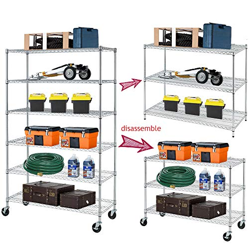 6-Tier Shelf Wire Shelving Units, Height Adjustable Organizer Garage Storage Units Heavy Duty Utility Metal Rack,4800lbs Wire Shelving Rack w/Wheels for Garage Office Kitchen, 48x18x72 NSF/Chrome