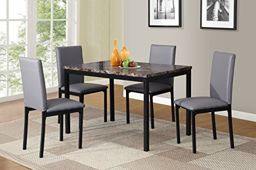 Roundhill Furniture D007GY 5 Piece Citico Metal Dinette Set with Laminated Faux Marble Top, Gray