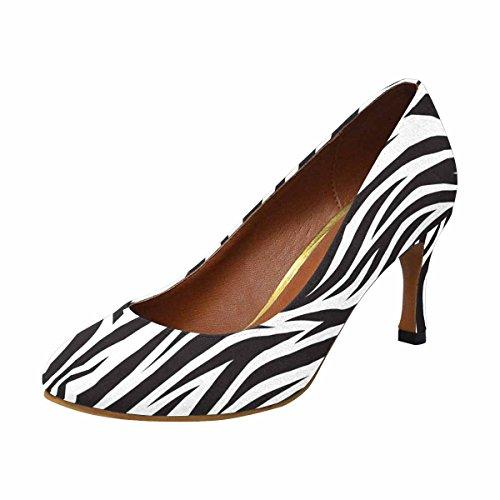 INTERESTPRINT Women's Classic High Heel Dress Pump Shoes Zebra Pattern 11 B(M) US