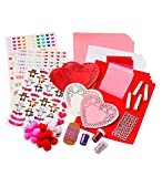 Crafty Creations Traditional Unique Handmade Valentines Paper Arts and Crafts Kit for Kids, Over 177 Pieces