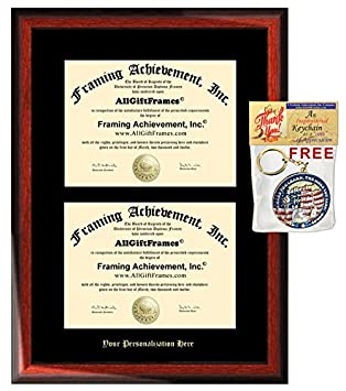 double college diploma frames dual degree holder certificate display framing satin matte mahogany wood frame collegiate - Diploma Framing