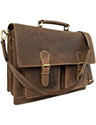 KKs 16 Inch Leather Messenger Bag Briefcase Bag laptop cases, distressed, laptop bags, Shoulder Bag