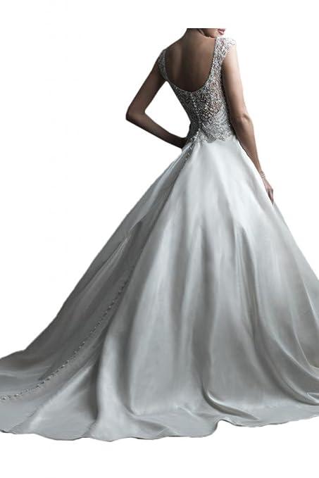 Milano Bride Edel Traeger Strass Hochzeitskleider Brautkleider Brautmode  mit Perlenstickerei Lang: Amazon.de: Bekleidung