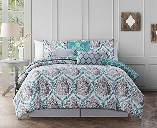Avondale Manor Notting Hill 7-Piece Comforter Set, King, Teal/Grey Comfort Notting Hill