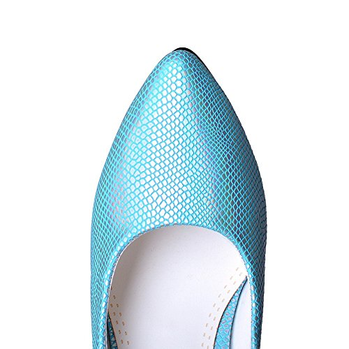 Pointed Material Python Shoes BalaMasa Blue Toe Soft Pattern Girls Pumps YwOvqH5
