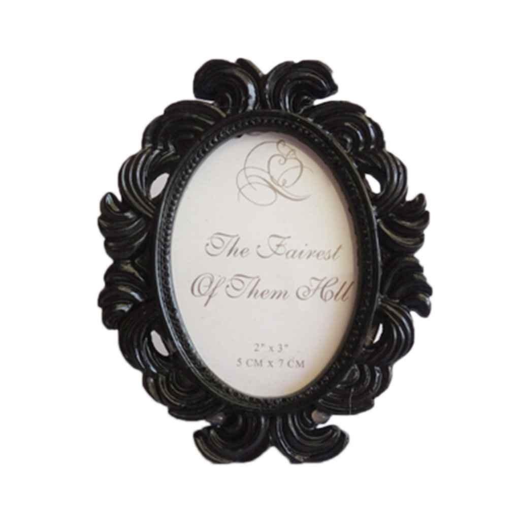 QHGstore Floral Bilderrahmen runden Rahmen Bilderrahmen Inhaber Hochzeit Dekor Schwarz