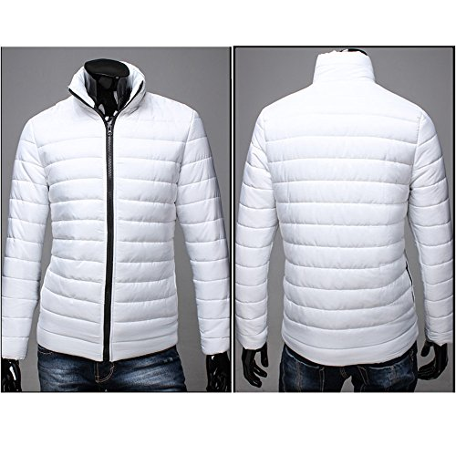 Stand Warm HARRYSTORE Full Outwear Collar Zip Jacket Slim Men Fit Thick White Coat wAnwBt5qx