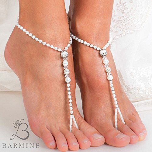 6721def7f9c0ea Amazon.com  Beaded Barefoot sandals Bridal jewelry Filigree Beads Beach  wedding Barefoot Sandals Bridal barefoot sandal Footless sandals Bridal  Shoes  ...