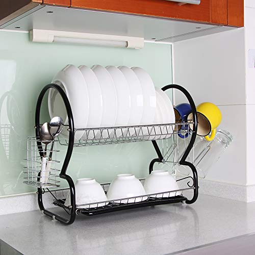 2-Tier Dish Rack and Drain Board, Brilliant Black Large Kitchen Plate Cup Dish Drying Rack Storage Tray Cutlery Dish Drainer Room Saving ()